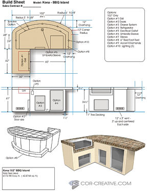 A fabrication blueprint for a BBQ island - 3D models for customer visualization and builder reference