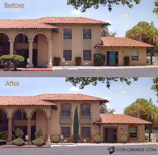 digitally enhanced architectural face-lift photo modification